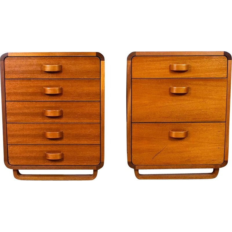 Pair of  Danish Teak Office Pedestals Cabinets Chests Mid Century with Drawers