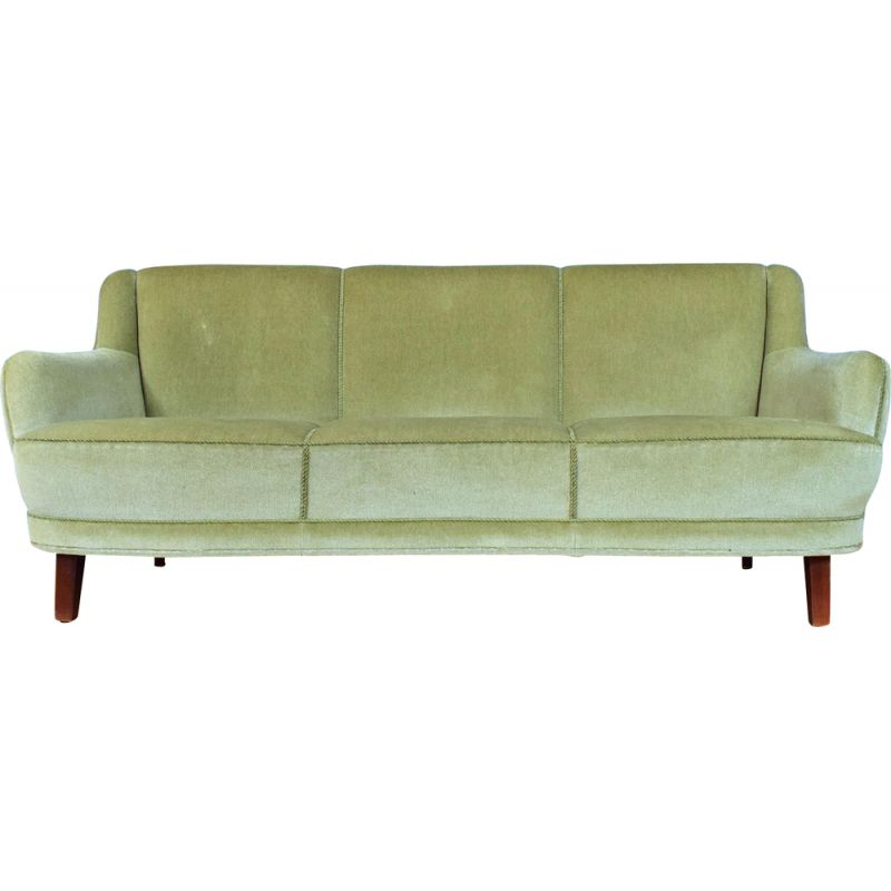 Art Deco Danish Mint Green Velour 3 Seat Banana Sofa Settee Mid Century 1940s