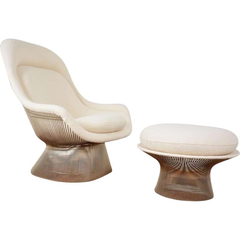 Vintage Easy Chair and its ottoman by Warren Platner Edition Knoll international, 1960