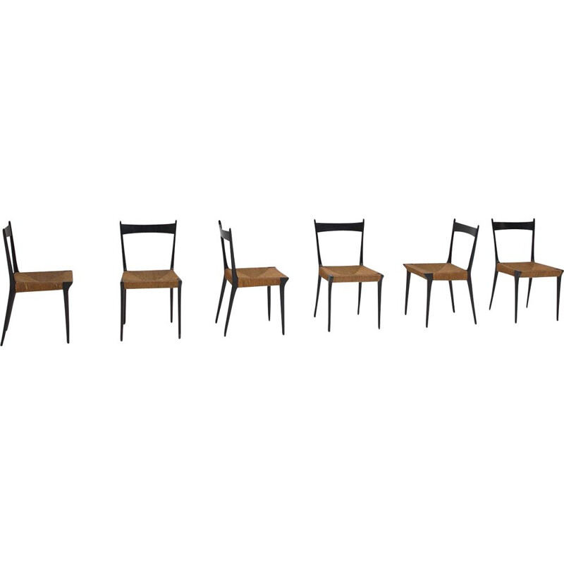 Set of 6 vintage Woven Cane S2 Chairs by Alfred Hendrickx 1960