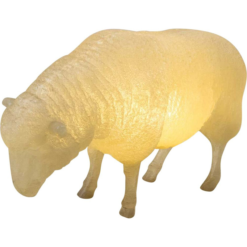 Vintage luminous resin sculpture of a life-size sheep, 1970