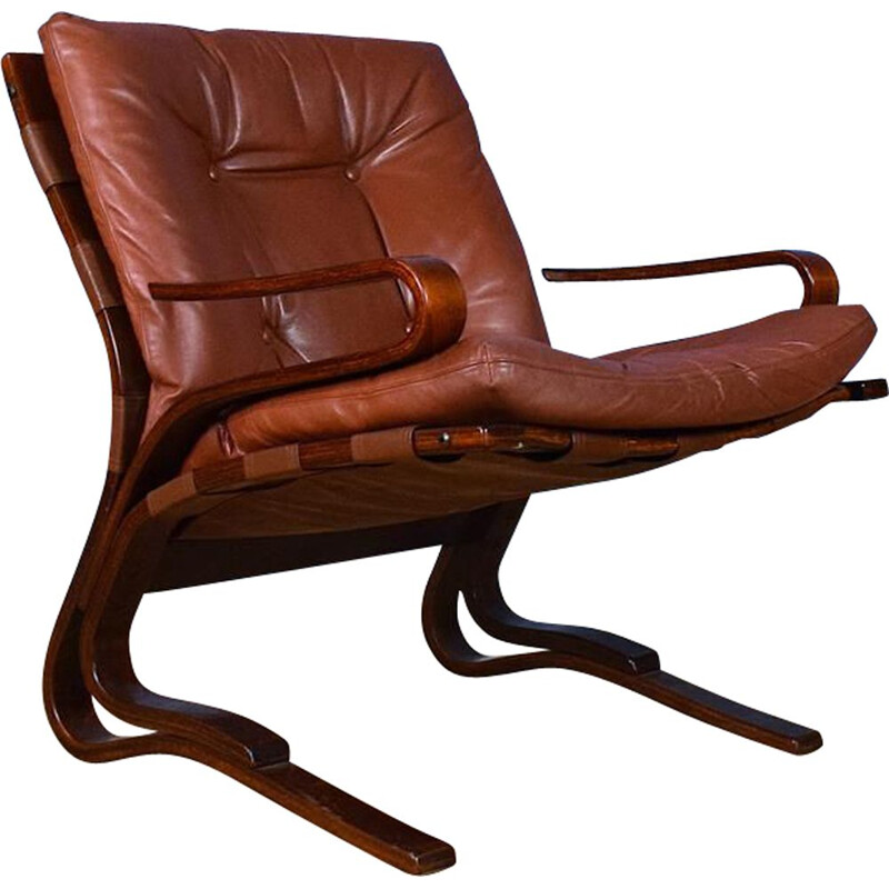 "Vintage leather and beech armchair ""Skyline"" by Hove Mobler"