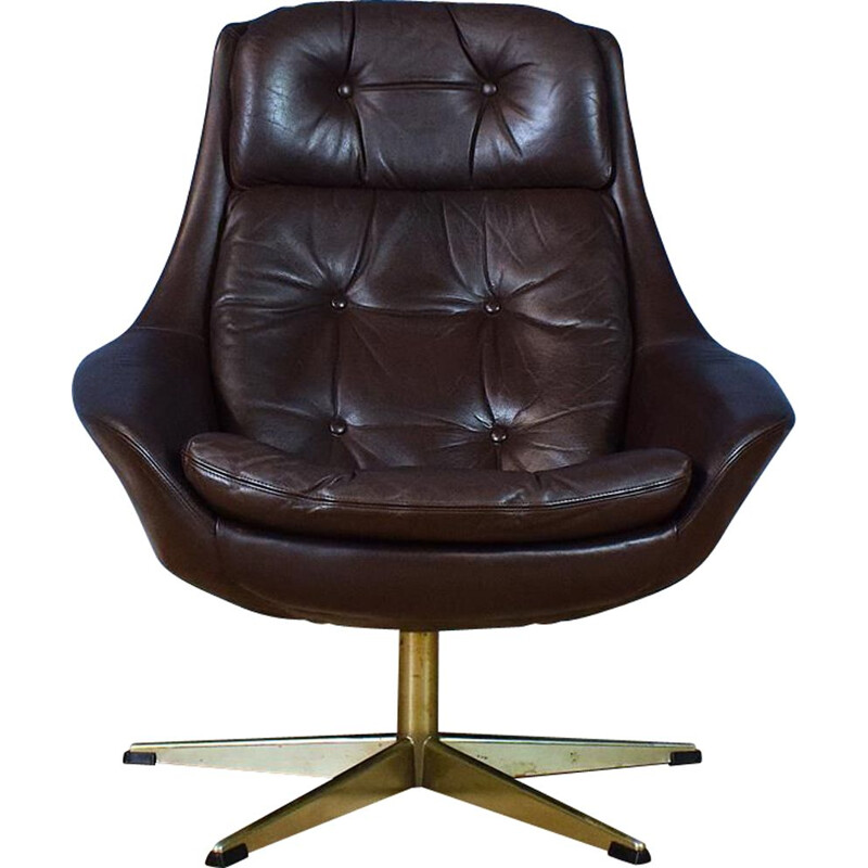 "Vintage ""Pirouette"" brown leather armchair by Henry Walter Klein from Bramin"