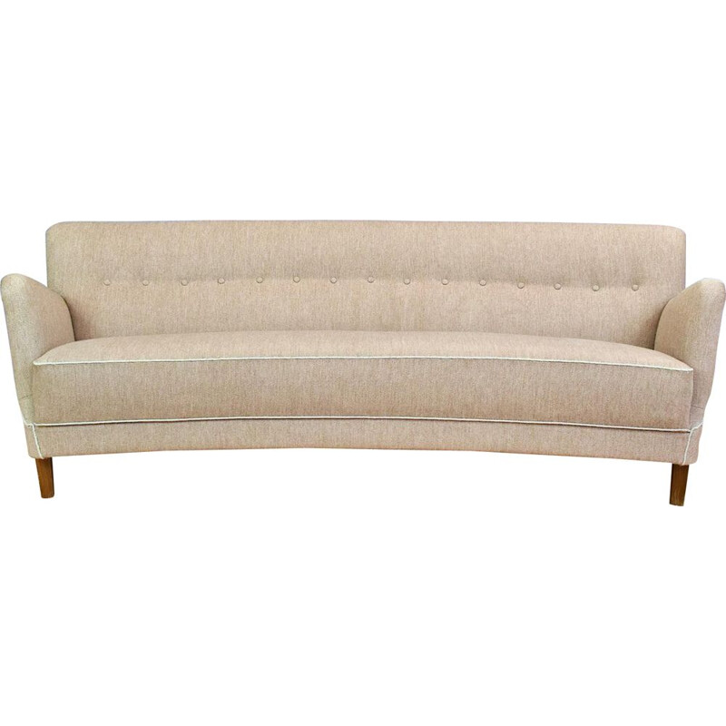 "Vintage Grey Wool sofa ""Banana"", 1950s"