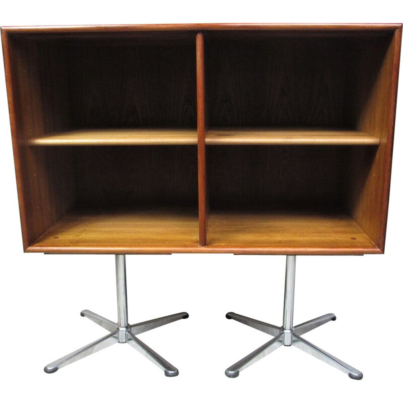 Vintage metal and teak bookcase, Sweden, 1970s