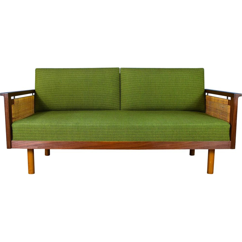 Vintage Teak and Wool Sofa by Illum Wikkelsø, 1960s
