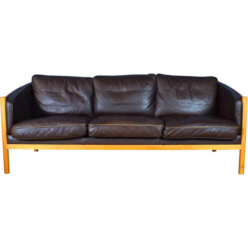 Vintage Brown Leather and Cherry Wood Sofa from Stouby, 1970s