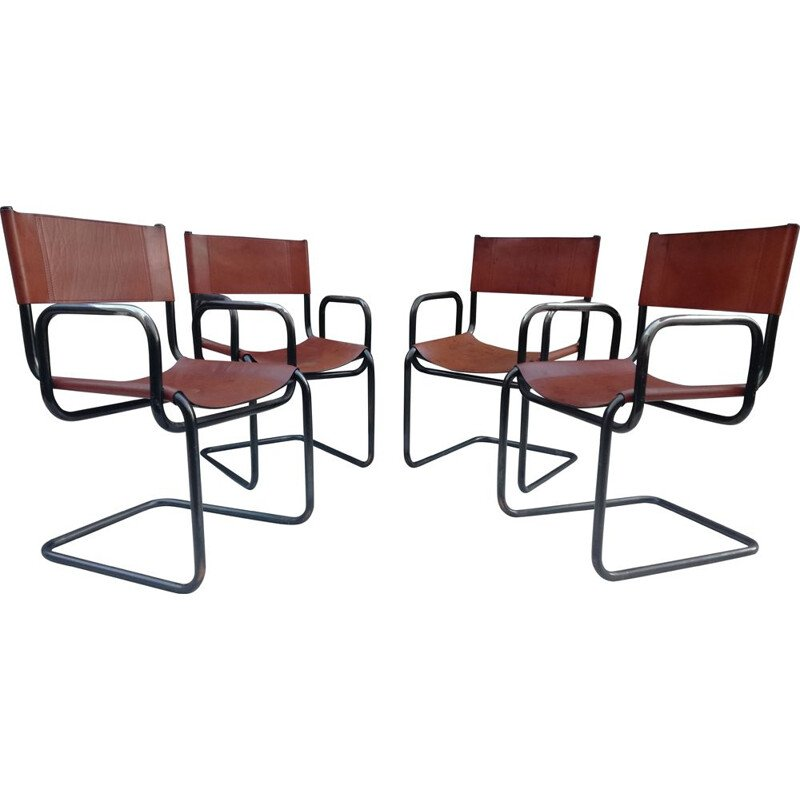 Set of 4 vintage Bauhaus leather and tubular steel armchairs, 1960s
