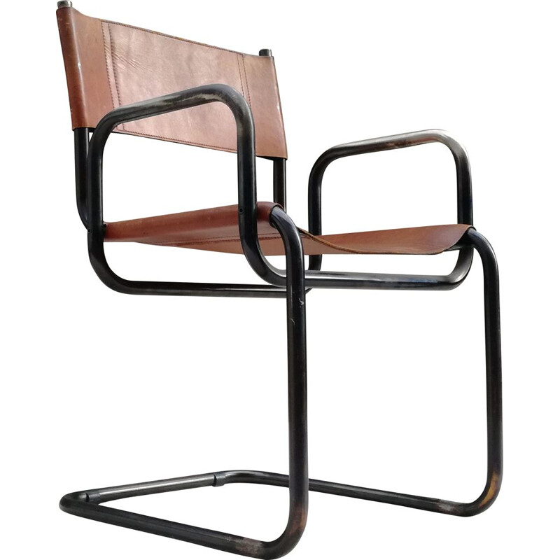 Vintage leather and tubular steel Bauhaus armchair, 1960s