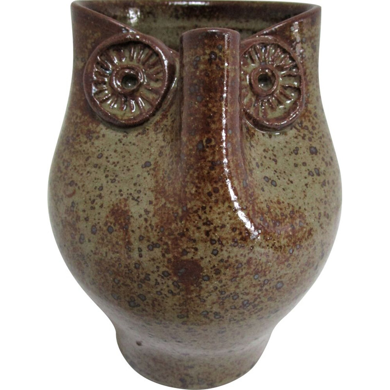 Vintage zoomorphic stoneware pitcher with owl figure 1960