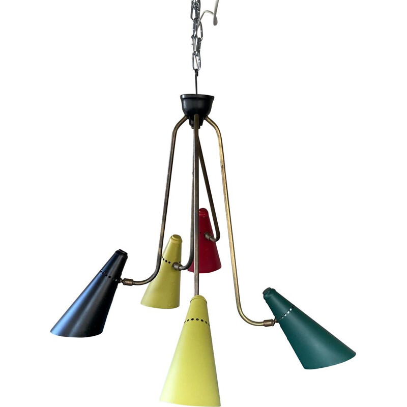 Multicoloured vintage chandelier in brass, metal and lacquered aluminium