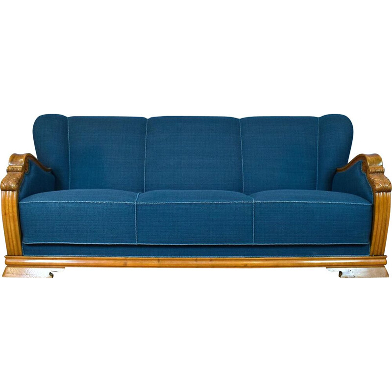 Art Deco Vintage Danish Teal Blue Wool & Oak Seat Sofa 1930s