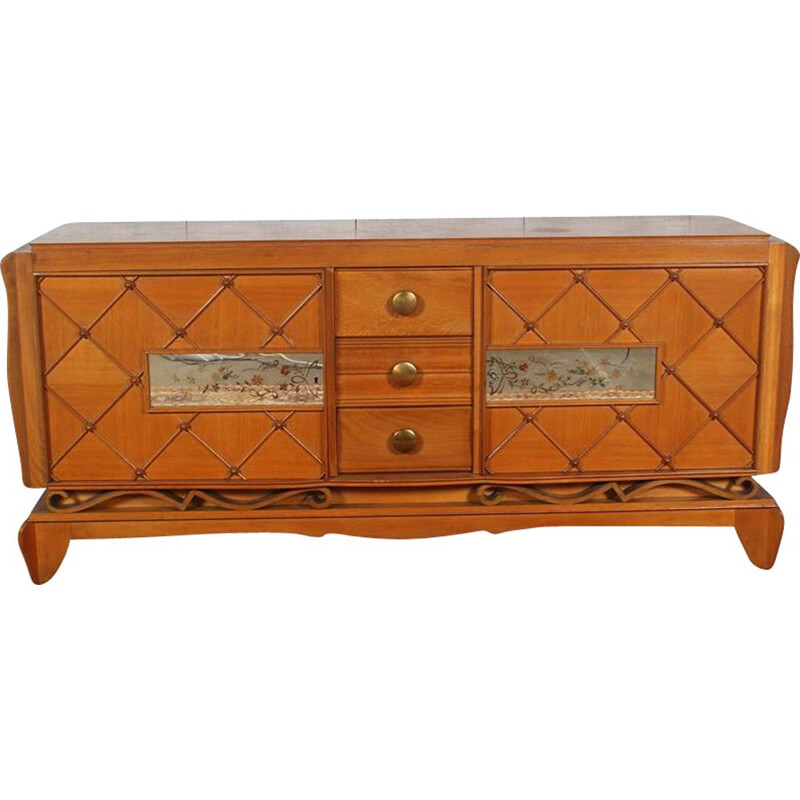 Vintage art deco sideboard in oak and agglomerated glass by René Prou
