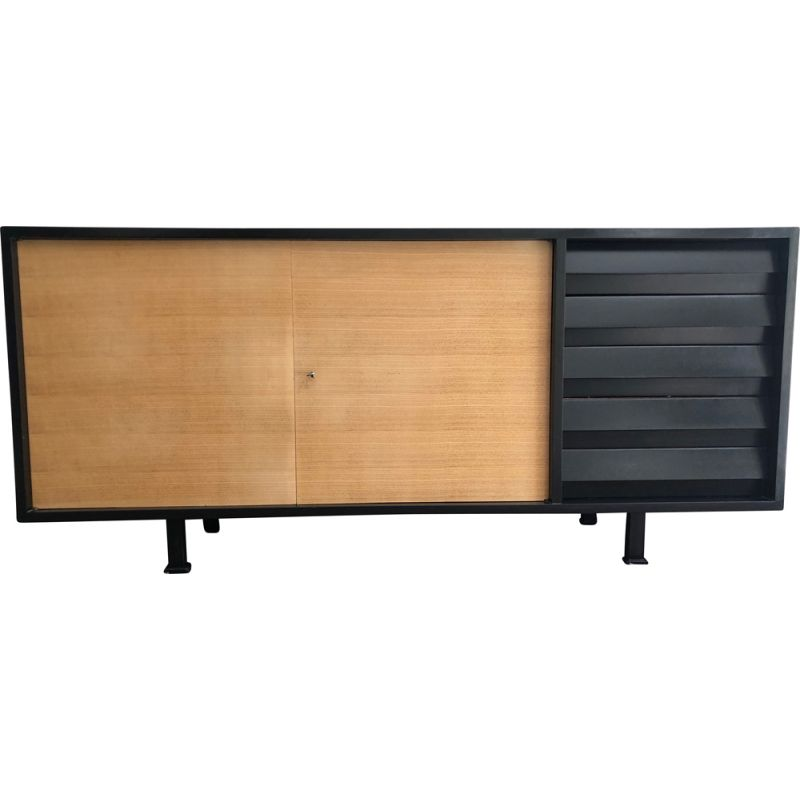 Sideboard in black lacquered wood and vintage solid beechwood