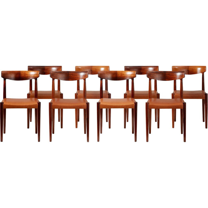 Set of 8 Vintage Rosewood Dining Chairs by Knud Faerch 1950s