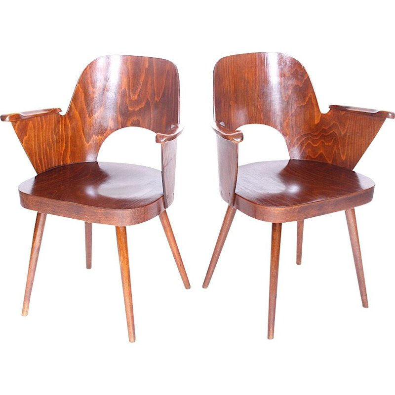 Pair of wooden vintage armchairs by Oswald Haerdtl