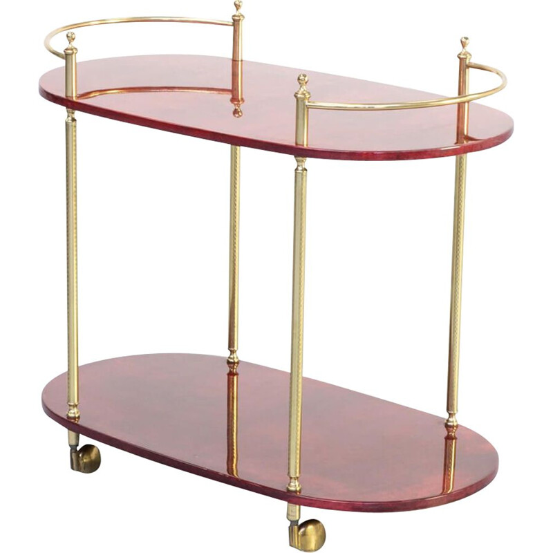 Vintage serving trolley for Tura Milano by Aldo Tura, 1960s