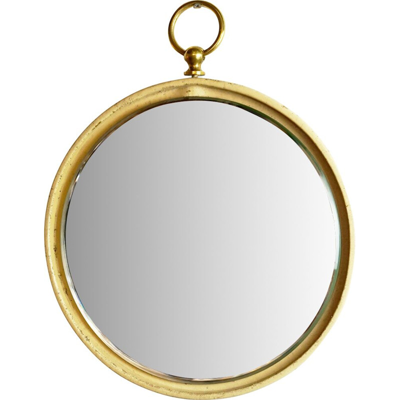 Italian brass and leather vintage mirror