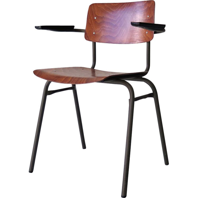 Wood and metal office chair, a grey lacquered 1960s