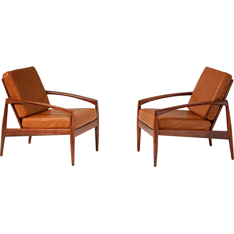 "Pair of rosewood ""Paper Knife"" Lounge Chairs by Kai Kristiansen 1955"