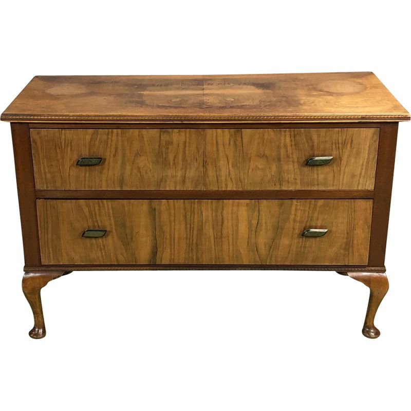 Small Chippendale chest of drawers in burr walnut wood