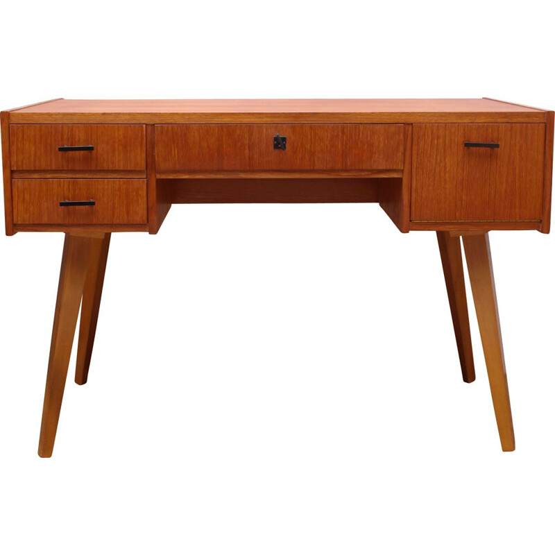 Desk in teak 3 drawers 1950s