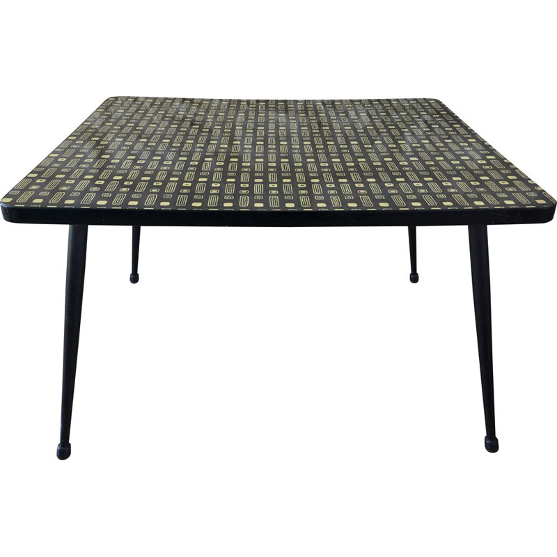 Vintage coffee table or side table in yellow and black formica circa 60 70