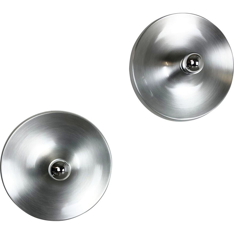 Set of 2 Charlotte Perriand Style Aluminum Disc Wall Light, Germany, 1970s