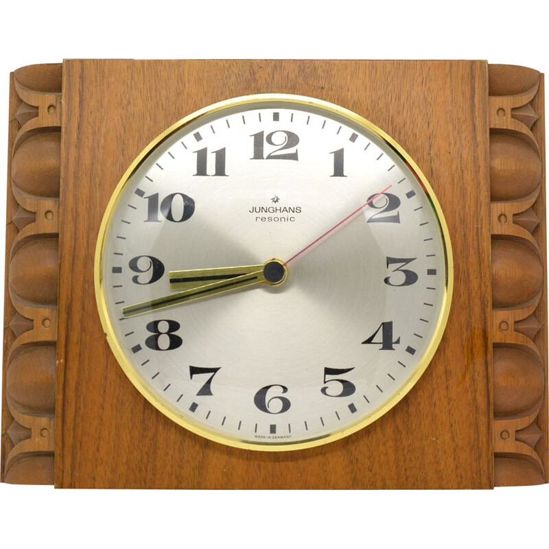 Walnut wall clock, Junghans Resonic Germany 70s