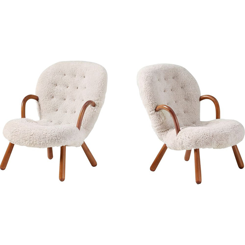 Philip Arctander Pair of Sheepskin Clam Chairs, 1950s
