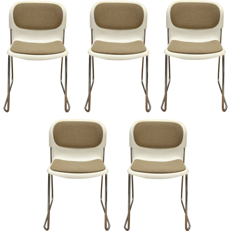 Set of 5 stacking chairs, Gerd Lange 1980s