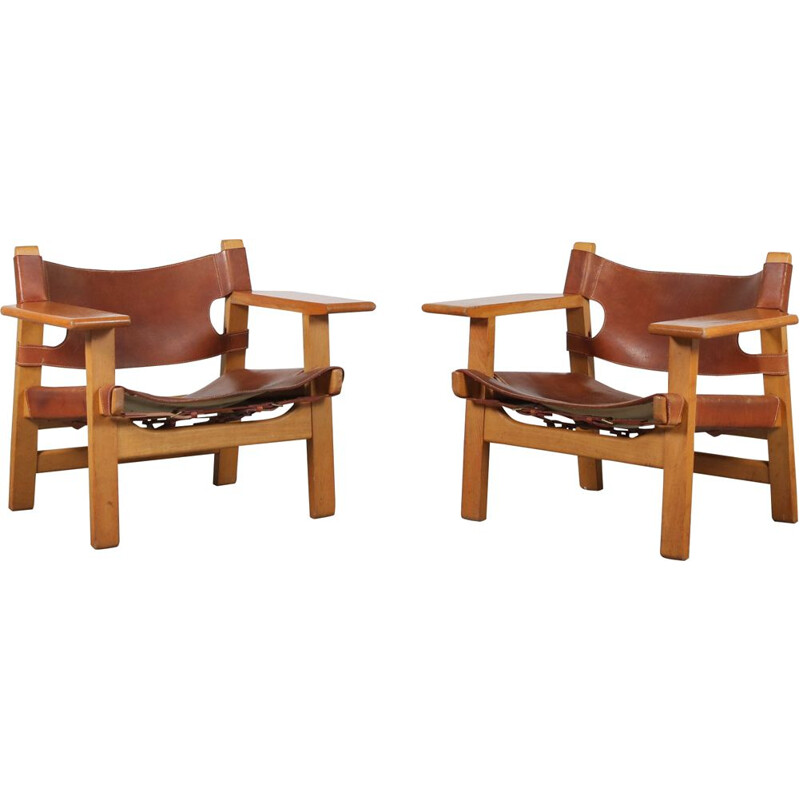 "Pair of ""Spanish Chairs"" by Børge Mogensen for Fredericia, Denmark 1960"