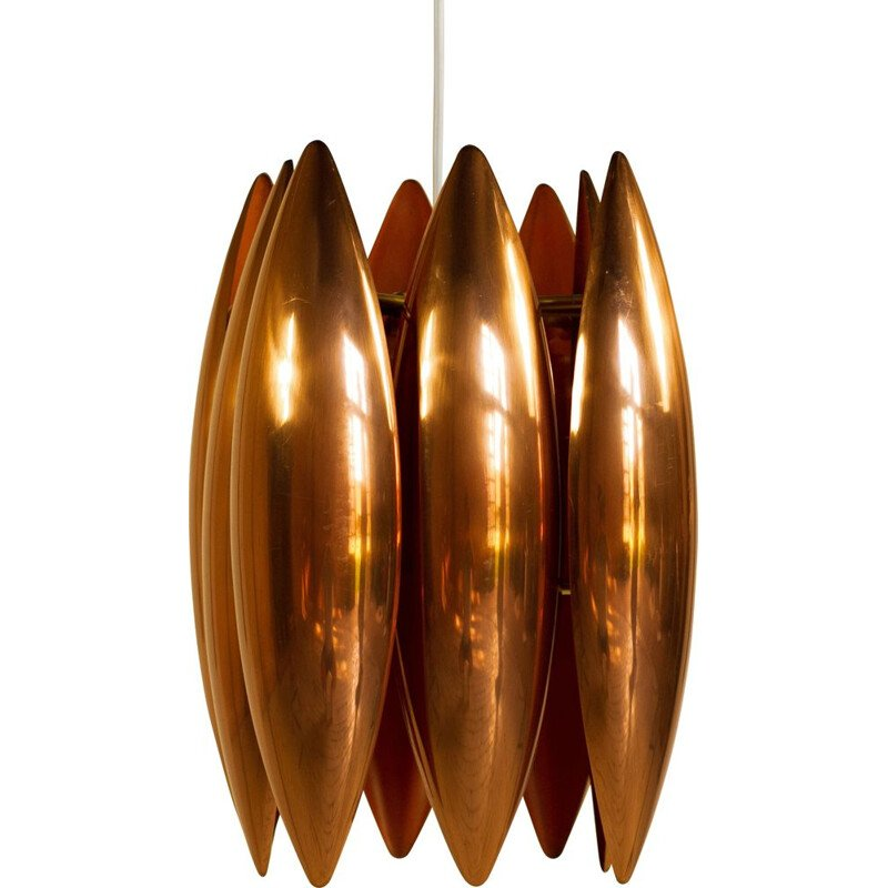Copper KASTOR suspension lamp by Jo Hammerborg, Denmark, 1960s