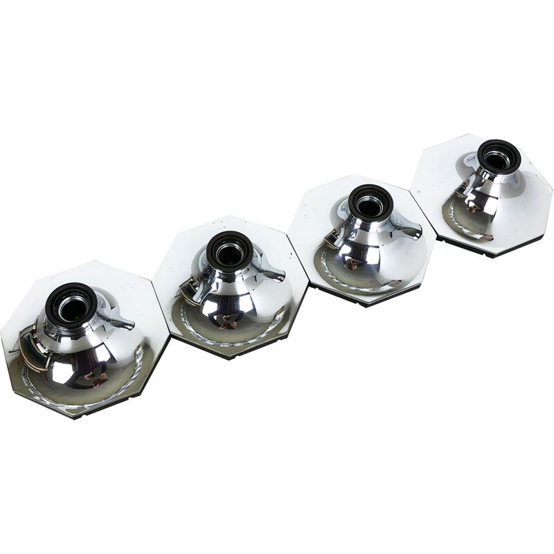 Set of Four Silver Cubic Wall Lights 1970
