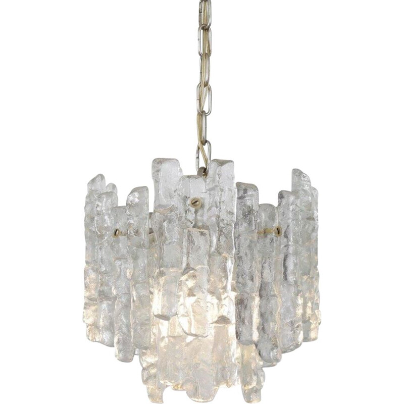 Iced glass Vintage hanging lamp made by Kalmar in Austria 1970