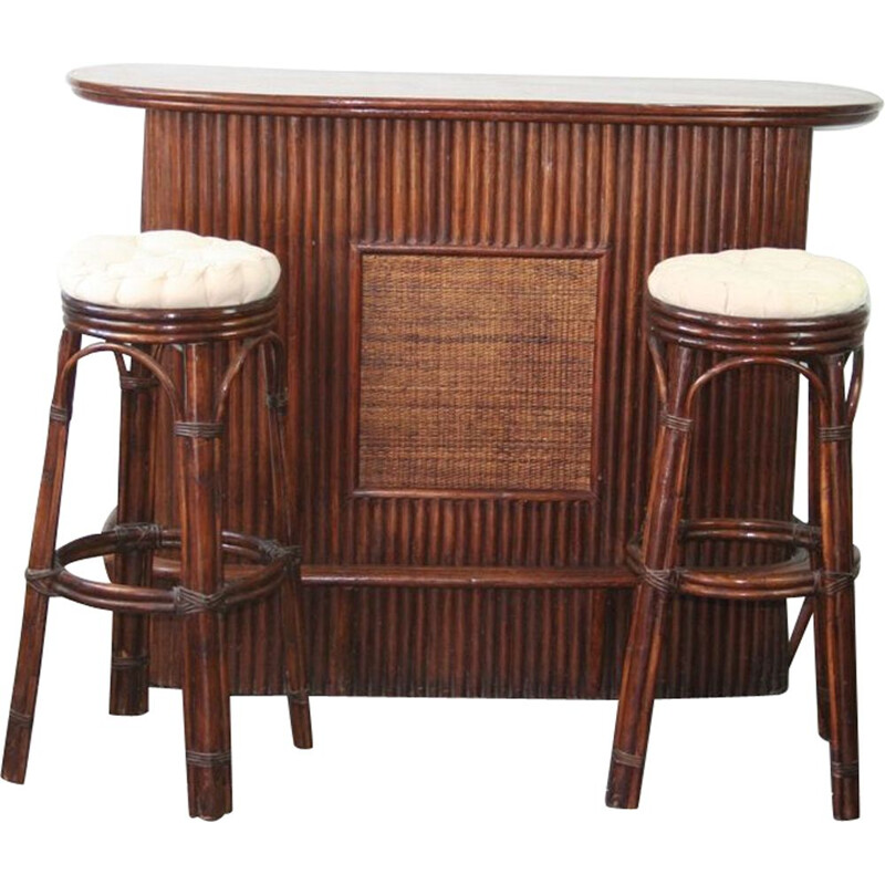 Bar counter and its 2 rattan stools year 70 vintage