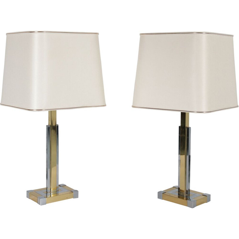 Pair of luxurious table lamps manufactured by Lumica in Spain 1970s