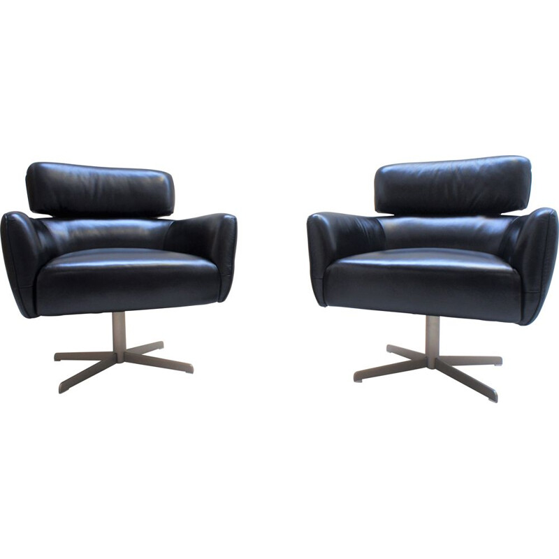 Pair of Scandinavian black leather armchairs