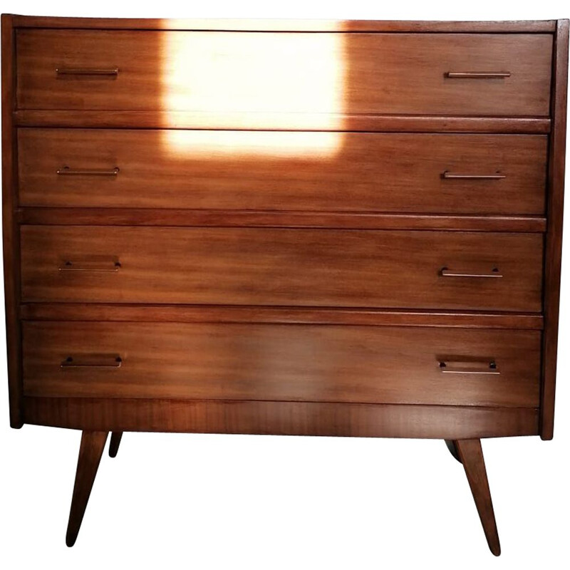 Chest of drawers with brass and black handles Vintage 60