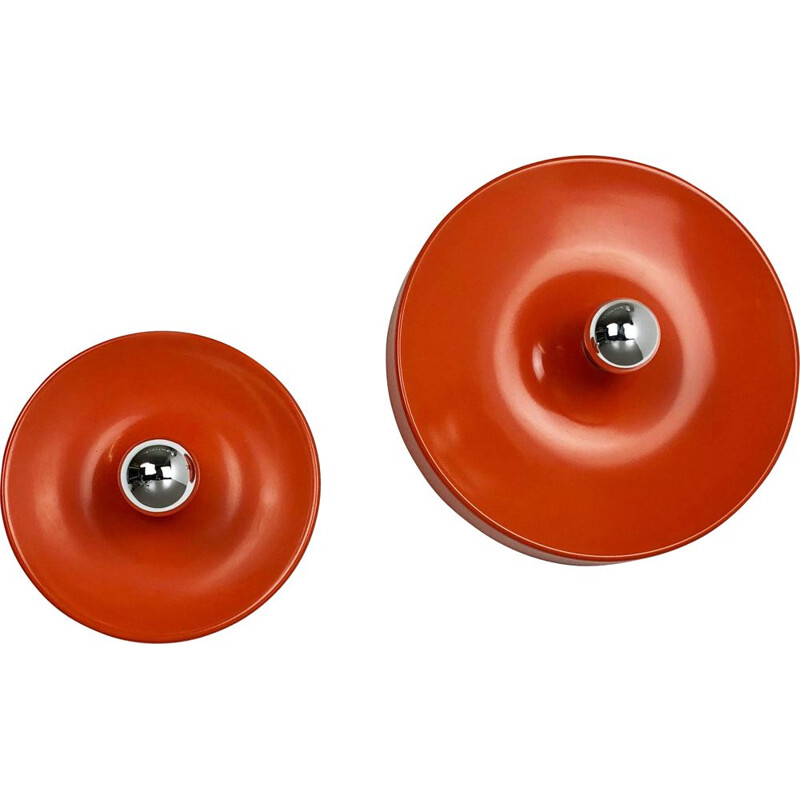 Set of 2 vintage disc-shaped wall sconces, Charlotte Perriand style from the 1970's, by Staff, Germany