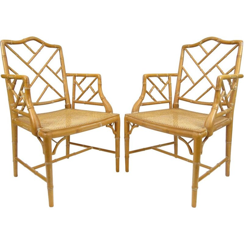Set of 2 faux bamboo armchairs, 1970s