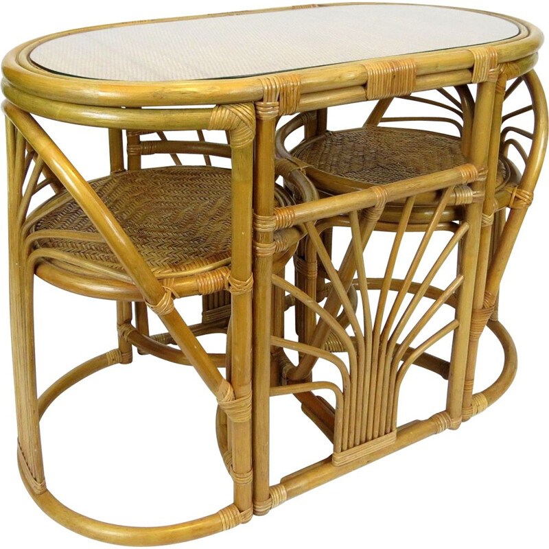 Set of table and chairs rattan set, 1970s
