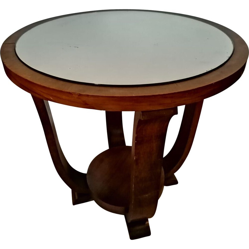Art deco pedestal table with mirror central tray