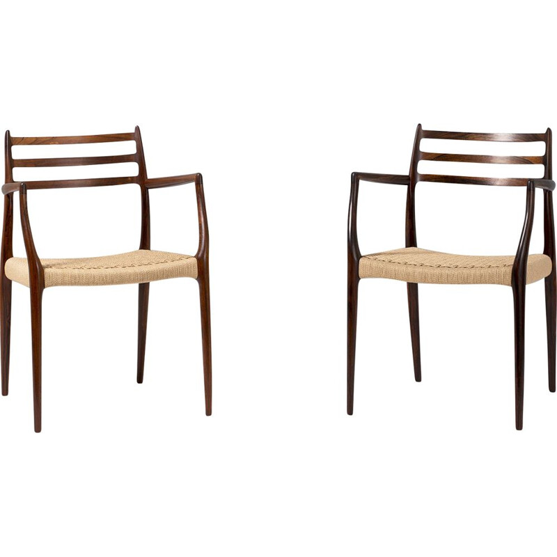 Pair of Niels Moller Model 62 Rosewood Armchairs, 1962