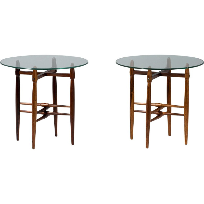 Pair of Rosewood and Glass Poul Hundevad  Side Tables,1960