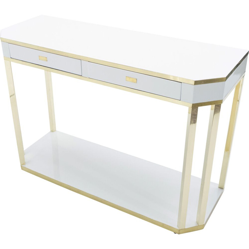 White lacquered and brass J.C. console. Mahey's 1970s