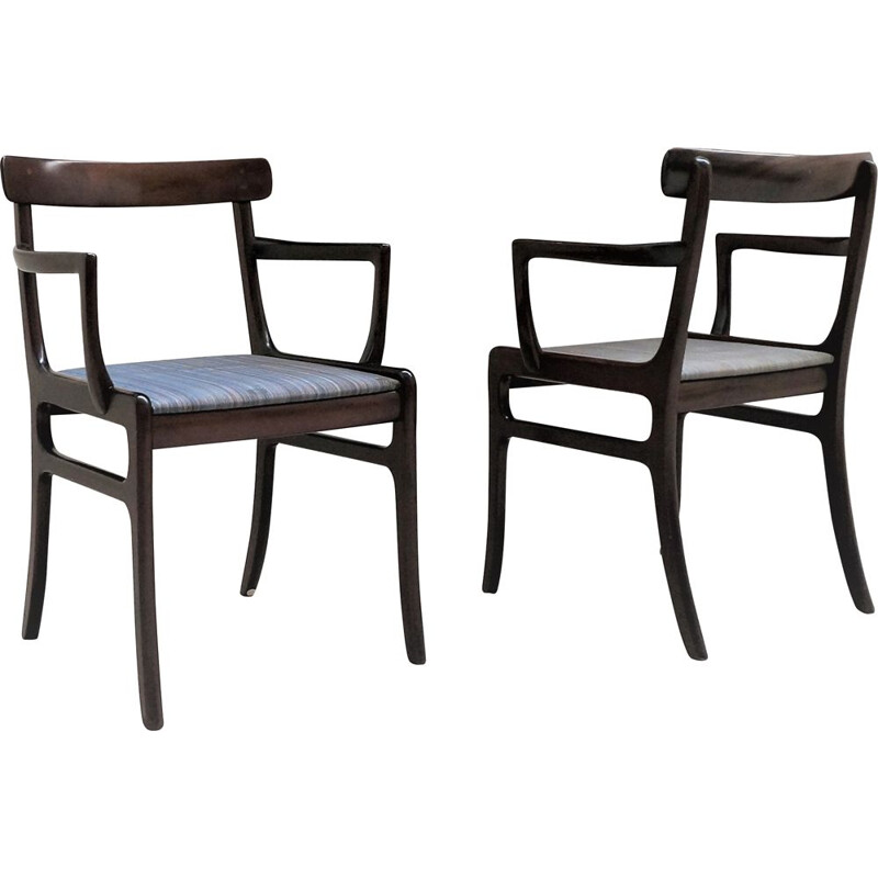 Pair of Scandinavian vintage armchairs Rungstedlung Ole Wanscher