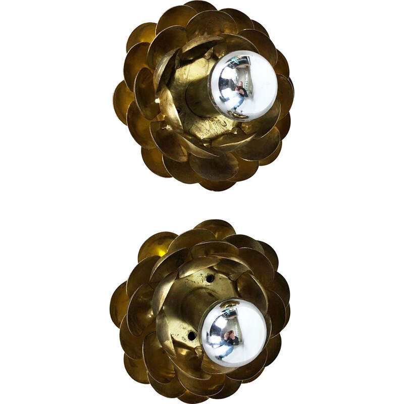 Set of Two Brutalist Brass Metal artichoke Wall Ceiling Light Sconces Italy