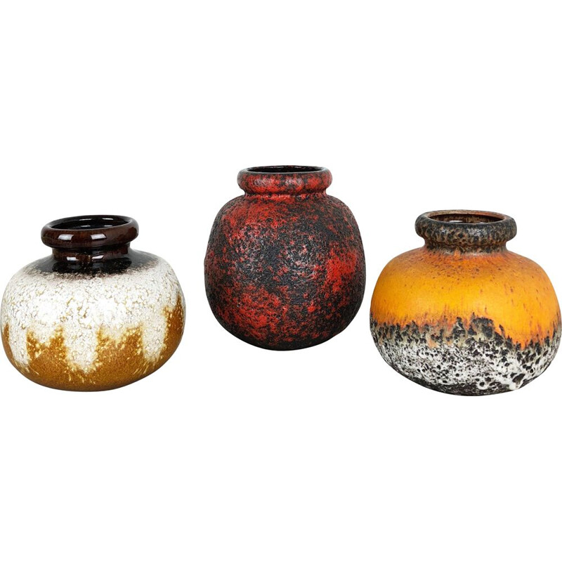"""Set of 3 Pottery Fat Lava Vases """"Multi-Color"""" by Scheurich, Germany, 1970s"""
