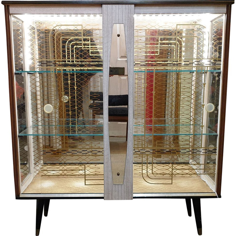 Vintage glass display case British style 1950